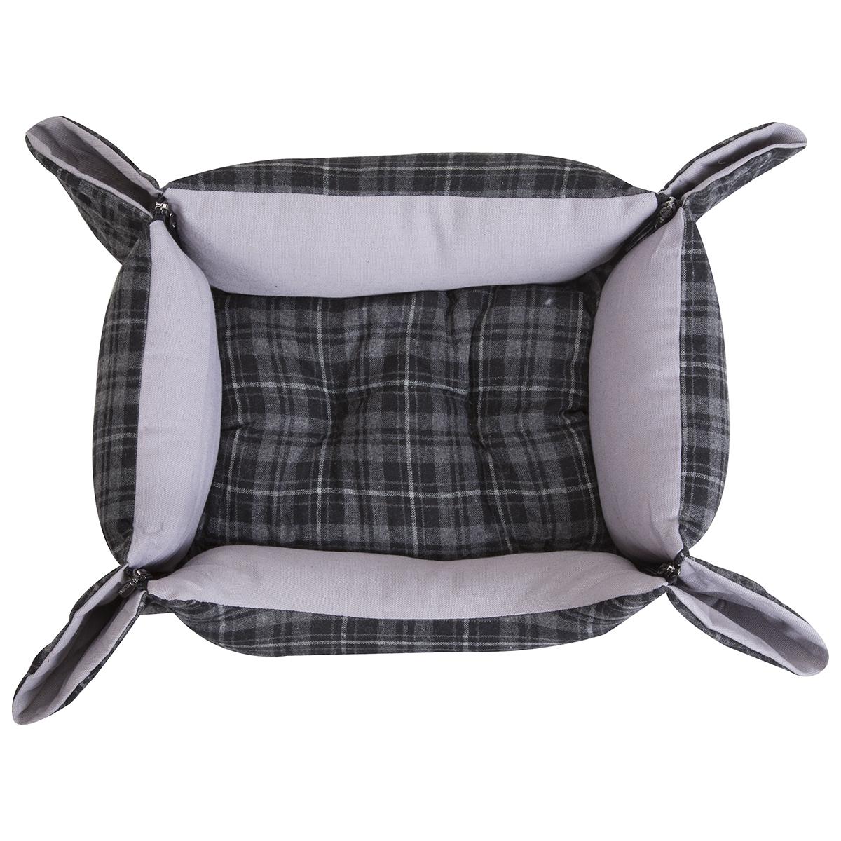 Panier style écossais gris avec fermeture éclair aux angles et coussin amovible 2
