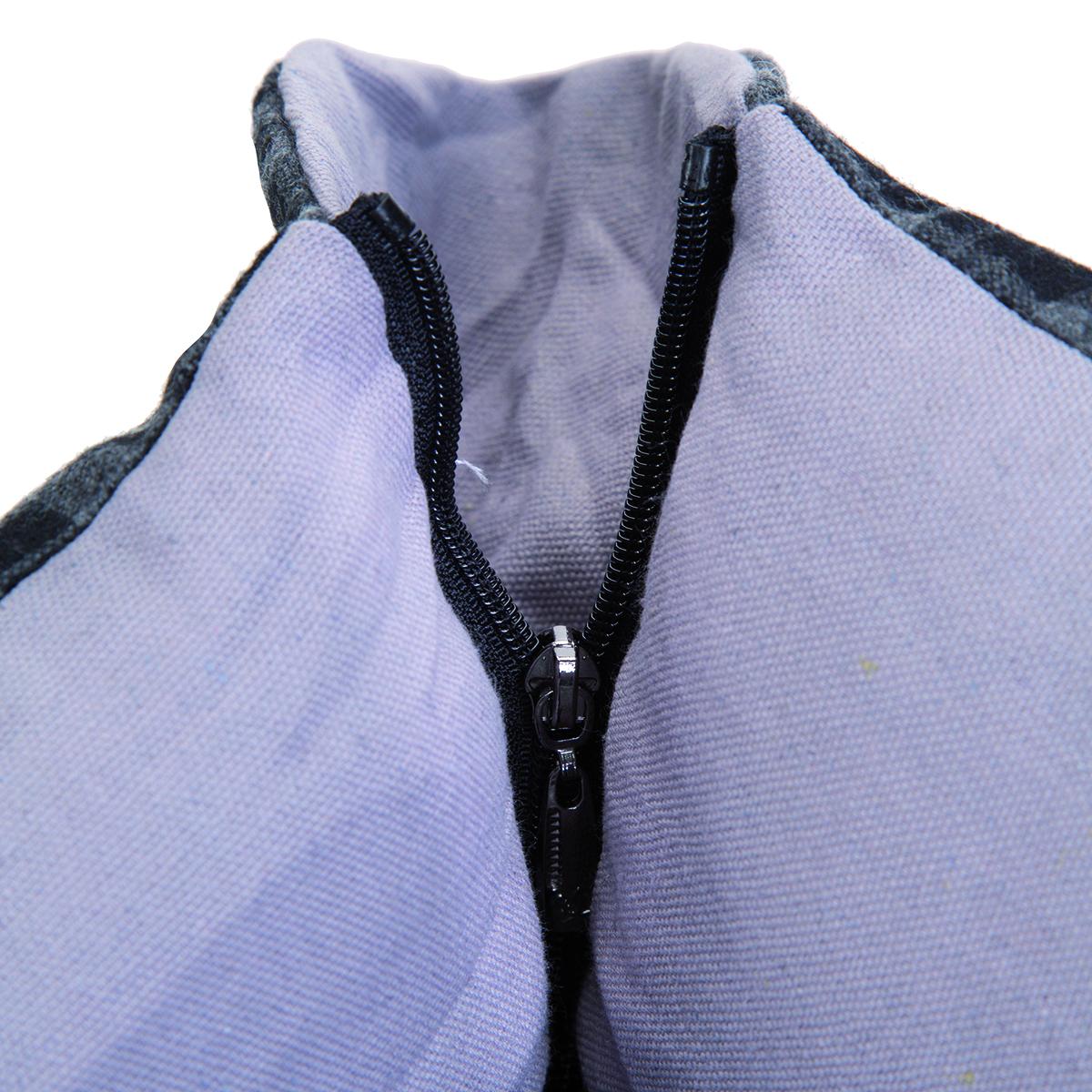 Panier style écossais gris avec fermeture éclair aux angles et coussin amovible 4