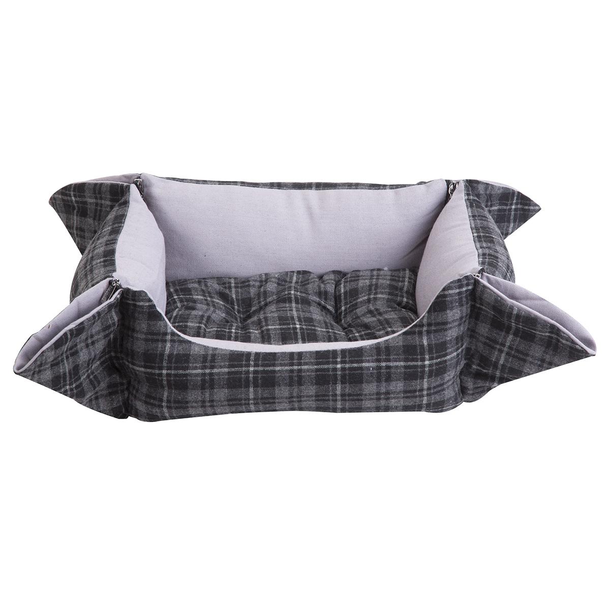 Panier style écossais gris avec fermeture éclair aux angles et coussin amovible 5