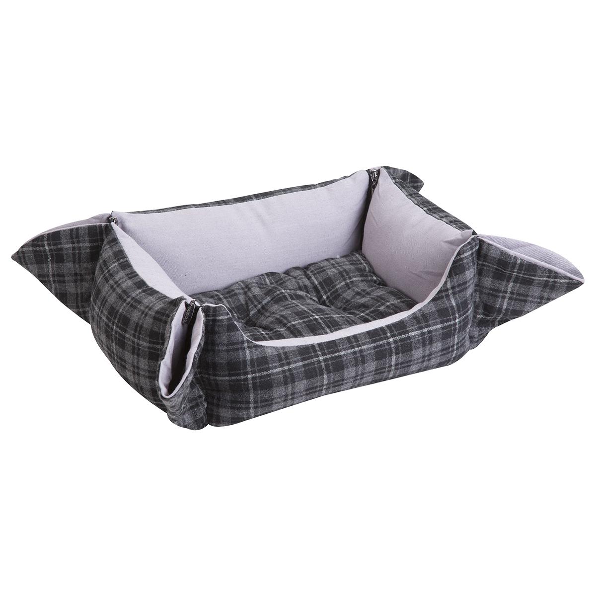 Panier style écossais gris avec fermeture éclair aux angles et coussin amovible
